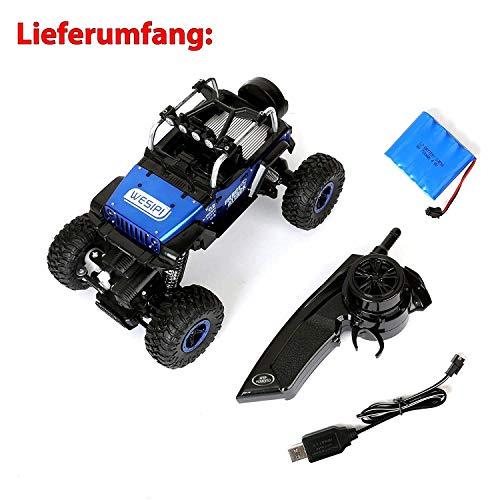 RC Auto kaufen Crawler Bild 6: Ferngesteuertes Autos,RC Auto Rock Crawler,1:18 Ferngesteuertes Monstertruck,4WD Elektrisches Offroad Fahrzeug (Blau)*