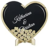 Gästebuch aus Holz und Acrylglas zur Hochzeit, personalisiert, Wunschgravur, Wunschfarbe inkl. Herzen (Hintergrundfarbe Anthrazit, L (35x40cm (ca. 60 Herzen))