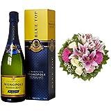 Monopole Heidsieck Blue Top Brut Champagner + Blumenstrauß Laura mit rosa Lilien