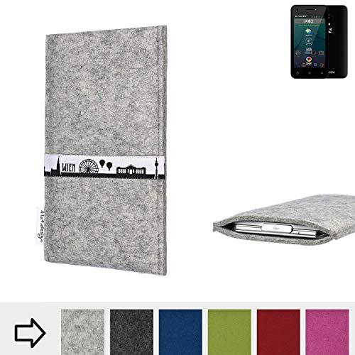 flat.design für Allview P42 Schutz Tasche Handyhülle Skyline mit Webband Wien - Maßanfertigung der Schutz Hülle Handytasche aus 100% Wollfilz (hellgrau) für Allview P42