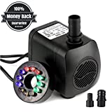15W 700L/H Submersible Water Pump with 12 Color LED Light for Fountain Pool