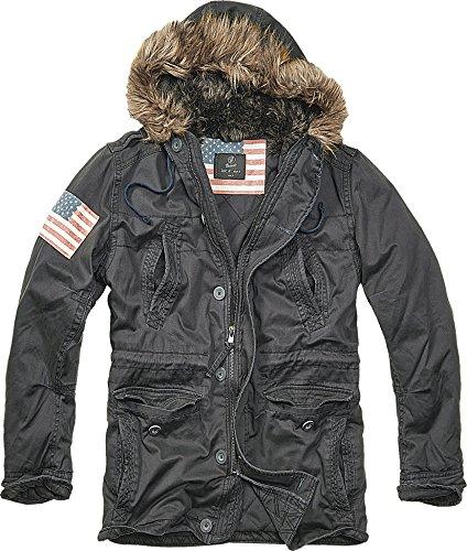 Brandit Vintage Explorer Polar Parka Stars & Stripes schwarz Gr. S (Mens Explorer Jacket)