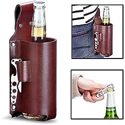 Porta botellas de cerveza con abridor. Accesorio Barbacoa