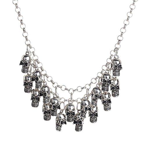 Yazilind Punk Style Schädel Design Silber Kette Kragen Lätzchen Gothic Halskette