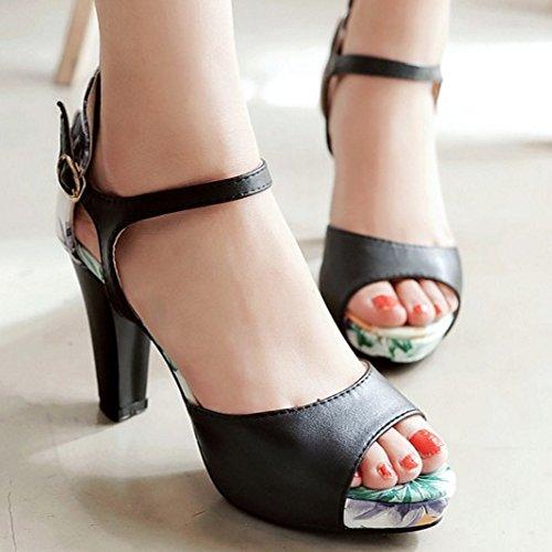 TAOFFEN Femmes Peep Toe Sandales Classique Bloc Talons Hauts Chaussures De Boucle Noir