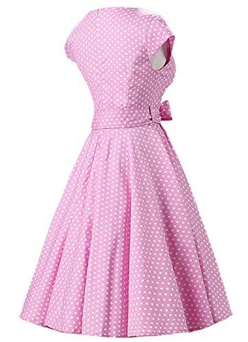 VKStar®Vintage 1950er Swing-Rockabilly Stil Tupfen Schleife Gürtel Audrey Hepburn Dress Cocktailkleid Partykleid mit Träger Rosa mit weißen Punkten