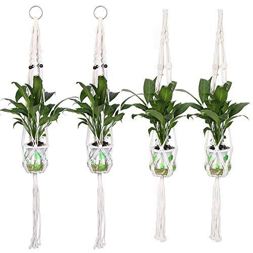 Makramee Blumenampel, 4 Stück Hängeampel Blumentopf Pflanzer Aufhänger für Innen Außen Decken Balkone Wanddekoration, Buamwollseil, 41 Zoll