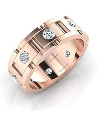 IskiUski Men'S Ring 18Kt Swarovski Crystal Rose Gold Ring Rose Gold Plated For Women