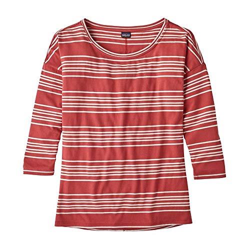 Patagonia Shallow Seas 3/4sleeved shirt, Damen L rot (lightning stripe static red) -
