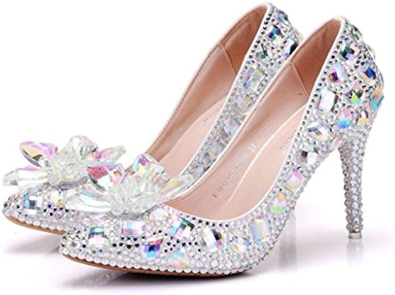 GAOLIXIA Señoras de las mujeres de tacón alto de cristal Rhinestone de la flor tacones de aguja Sandalias del...