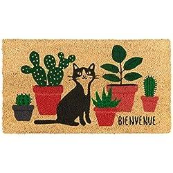 Paillasson COCO/PVC Bienvenue chat plantes - Derrière la porte