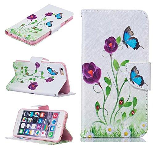 iPhone 6S Plus Coque, iPhone 6 Plus Coque, Lifeturt [ Purple Butterfly ] [book-style] Flip Case Coque en PU Cuir Housse de Protection Étui à rabat Case Cover Ultra Slim Portefeuille PU Cuir avec stand E02-Papillon bleu4172