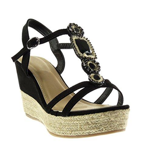 Angkorly Scarpe Moda sandali Espadrillas cinturino zeppe donna gioielli tanga corda Tacco zeppa piattaforma 9.5 CM Nero