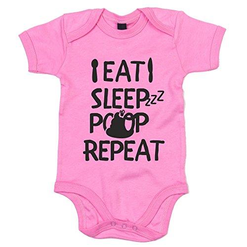 Baby Body - Eat, Sleep, Poop, Repeat - von SHIRT DEPARTMENT, rosa-schwarz, 50-62