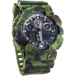 Adixion Green Dial Sports Resin Strap Digital Analog Wrist Watch- For Boys & Girls