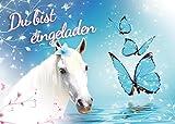 Einladungskarte zum Kindergeburtstag - Pferd - Schmetterling - Mädchen - Party - Geburtstag 7