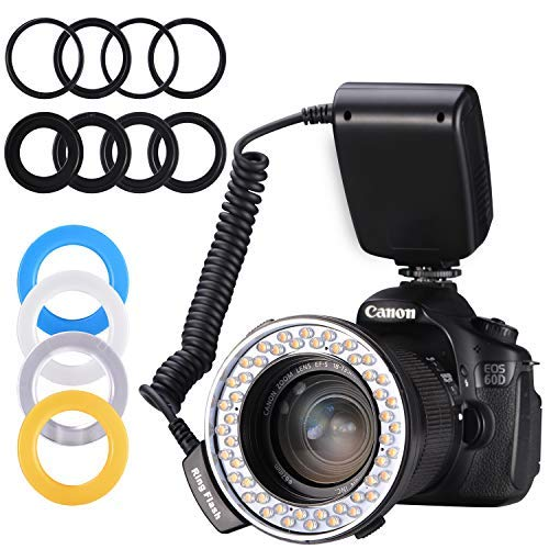 Emiral Ringblitz, Makroblitz Ring Flash LED Ringleuchte für Nikon, Canon, Panasonic und Olympus Led Ring Flash