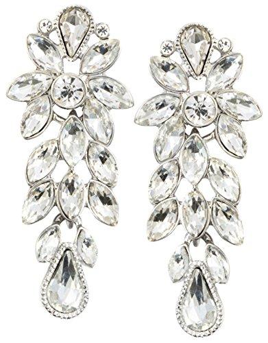 amen Statement Ohrringe in Silberfarbe | Auffällige Ohrringe Blumen aus Strass in Weiß ()