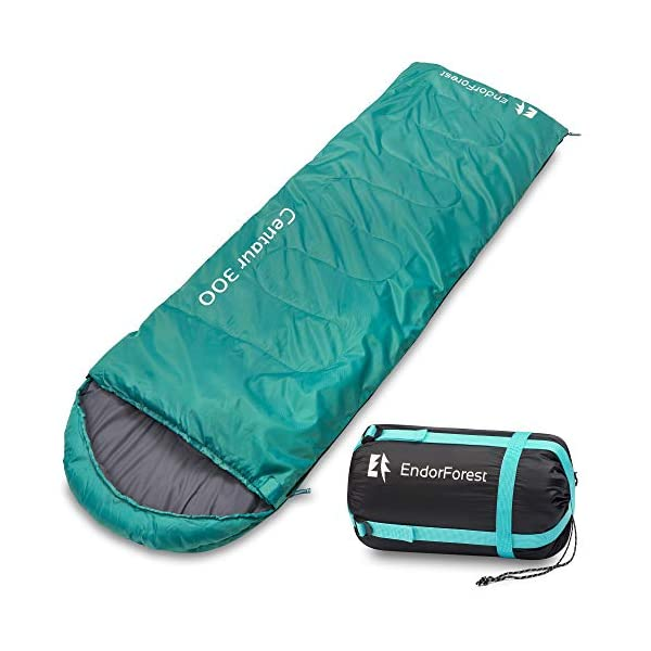 Endor Forest Sleeping Bag for Adults and Kids - Made With Ripstop Polyester, Single Envelope 3 Season Sleeping Bag for Camping - Lightweight, Compact and Water Resistant for a Comfortable Warm Sleep 1