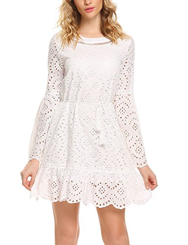 Zeagoo Women's Bell Sleeve Eyelet Fit and Flare Solid Mini Crochet Lace Dress with String Belted (Dress Belted Lace)