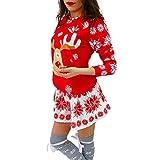 Ningsun Mini Abito Manica Lunga di Natale con Stampa Alce Fiocco di Neve o-Collo di Buon Natale, Abito Natale Sweatshirt Pullover Casual T-Shirts Vestito Stampato
