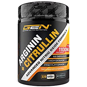 L-Arginin + L-Citrullin – 320 Kapseln – 1100 mg pro Kapsel – Citrullin 2:1 + Arginin Base 1:1 Verhältnis – Premium Aminosäuren – Laborgeprüfte Qualität – German Elite Nutrition