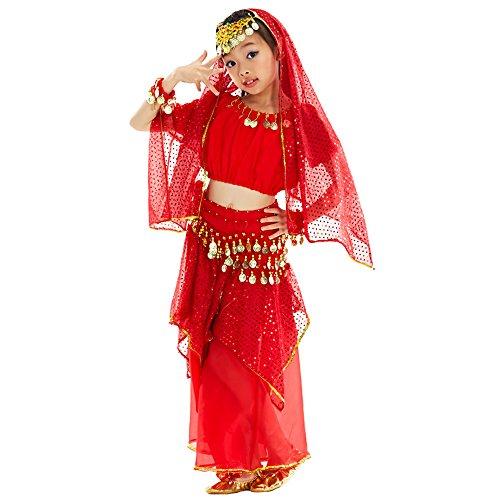 BOZEVON Kinder Mädchen Shiny Bauchtanz Kostüme Kinder Ägypten Indische Tanz Outfits, Kopf Kette + Schleier + Oberteile + Rock + Taille Kette (Rot , EU S = Tag M)