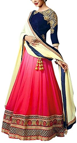 SiyaRam Women\'s Party-Wear Lehenga Choli (PINK_Lehnga_115_Pink & Blue)