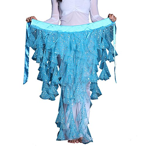 Lady'S Bauchtanz Hip Schal Gürtel Sequins Latin Dance Quaste Wave Rock . Blue . One Size