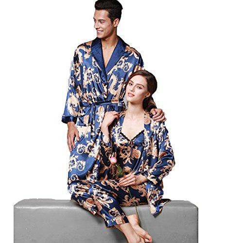 Jusfitsu Damen Klassische Spitze Seide Pyjama Set Sleepwear Homewear Schlafanzug 6 Farben Dunkelblau