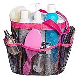 Cadena de ducha de malla, paquete portátil 8 bolsillos de almacenamiento, organizador de baño organizador de baño de asas colgantes para dormitorio Gym Camp Trave (Rosa roja)