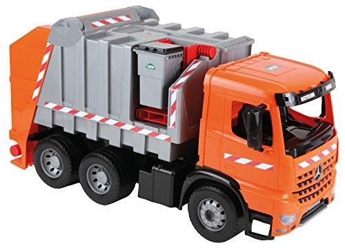 Lena 02168 - Starke Riesen Müllwagen Mercedes Arocs, 3 - Achser, orange - silber, mit Aufklebern, ca. 74 cm