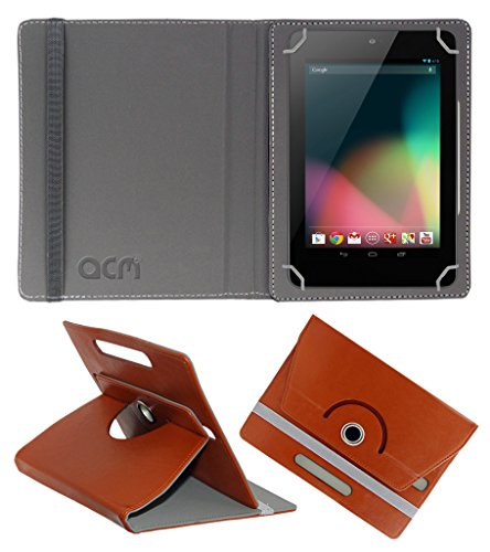 Acm Rotating 360° Leather Flip Case For Asus Google Nexus 7 2012 Tablet Cover Stand Brown  available at amazon for Rs.149