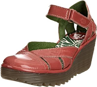 Fly London Women's Yiff Leather Patent Pink Wedge Heels P500272008 4 UK