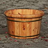 Foot Bath Barrel Solid Wood Natural Thicken Foot Spa Wooden Tub Household Insulation Steamed(41 * 25 * 31cm)