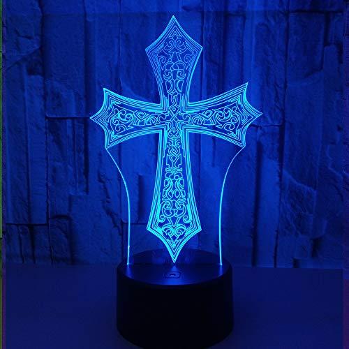 3D Die Illusion Lampe Kreuz LED Nachtlicht, USB-Stromversorgung 7 Farben Blinken Berührungsschalter Schlafzimmer Schreibtischlampe für Kinder Weihnachts geschenk