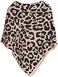 styleBREAKER Damen Feinstrick Poncho mit Leoparden Muster, Animalprint, Rundhals 08010057, Farbe:Rose