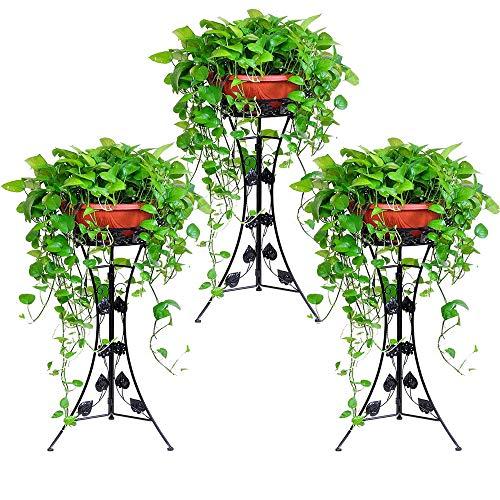 Malayas® 3 Unidades Maceteros Porta Macetas Decorativos /Soporte de Pie /Estante Vintage para Macetas Pedestales Flores Plantas, Metal Resistente, para Jardín Dormitorio Sala de Estar Oficina Balcón Interior