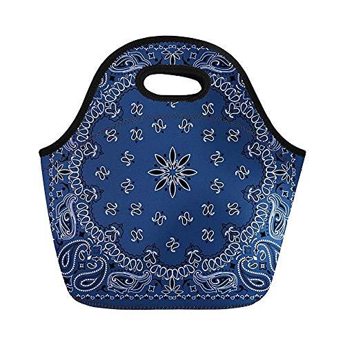 em Muster, blaues Paisleymuster, Bandana-Bordüre, Schal, schwarz, klassisch, isoliert, Neopren, für die Arbeit, Erwachsene, Herren, Kinder, Picknick, Lunchbox, moderne Lunchbox ()