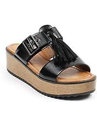 Ideal Shoes - Mules nacrées à franges et plateforme Laurencia