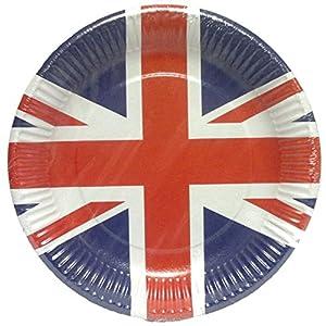 Amscan International 994127 UK Union Jack - Platos de papel (8 unidades), color rojo, blanco y azul, talla única