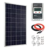 Giosolar 100W 12V Polycrystalline Solar Panel Kit with MPPT 20A Solar Charge Controller + Red/Black Cable + Mounting Z Brackets for RV Boat Off-Grid