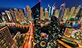 OKOUNOKO Puzzles De 1000 Piezas para Adultos Noche En Dubai Montaje De Madera Decoración para El Juego De Juguetes para El Hogar Juguete Educativo para Niños Y Adultos