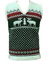London Knitwear Gallery Christmas Novelty Retro Snowflake Fairisle Reindeer Tanktop