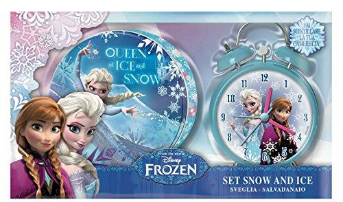 Disney Frozen - Set con despertador y hucha de metal, 24 x 14 cm (Gabbiano 30215)