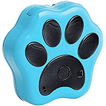 Portable lindo perro pata patrón perro gato Collar Pet GPS + Localizador WiFi resplandor Contra la pérdida diaria vida impermeable en tiempo real de seguimiento Tracker control remoto con cordón Azul