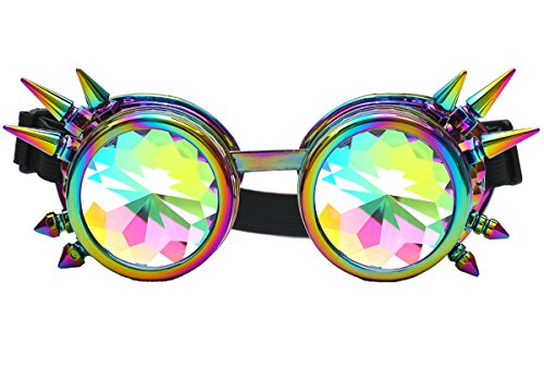 DODOING Kaleidoscope Goggles Weinlese-Art Gotische Retro Steampunk Cosplay Brille Glasses Welding Punk Brille (Bunt)