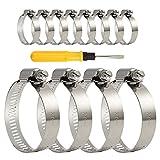 TUPARKA - 12 abrazaderas de manguera ajustables de 27 a 51 mm de acero inoxidable con destornillador para tubo de gas de casa