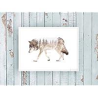 Kunstdruck / Poster WOLF & FOREST -ungerahmt- Tier, Wald, skandinavisch, nordisch
