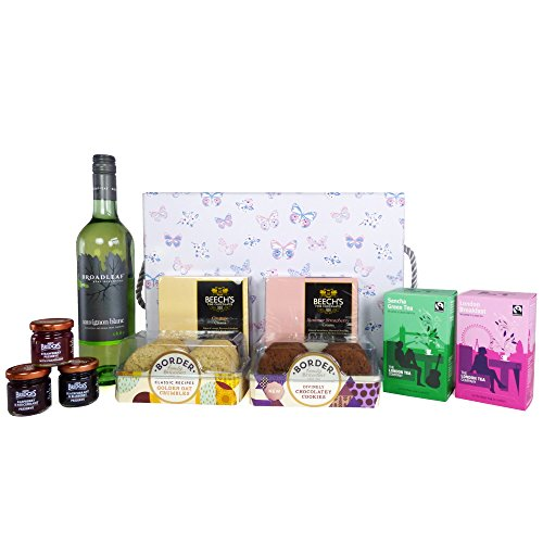 Broadleaf White Wine & Delicious Nibbles Hamper Presented in a Luxury Butterfly Gift Box - Gift Ideas for Birthday, Wedding, Anniversary and Corporate